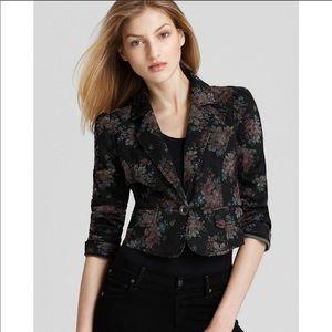 NWOT Free People Black Denim Floral Crop Jacket